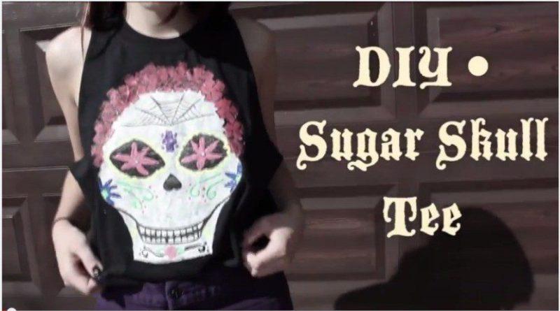 painted sugar skull tee