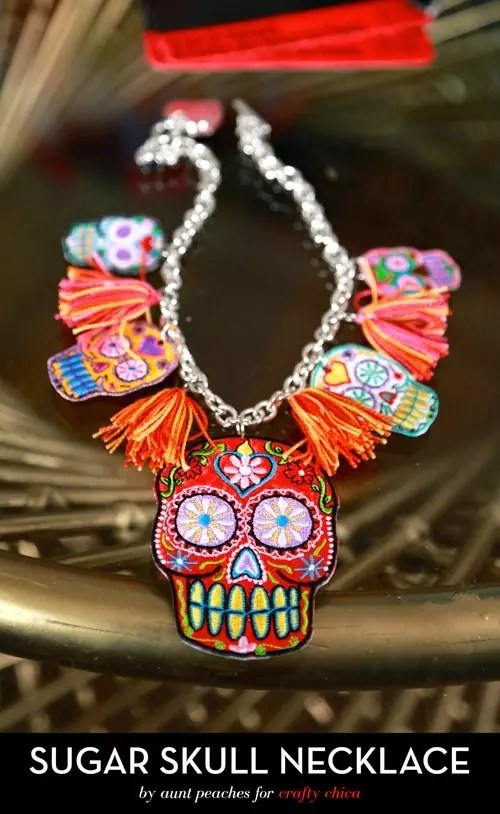 Sugar Skull Necklace by AuntPeaches.com