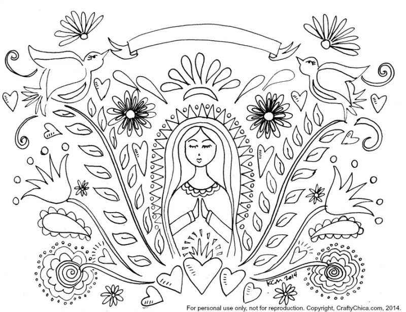 Free printable for coloring or embroidery by Kathy Cano-Murillo, CraftyChica.com.