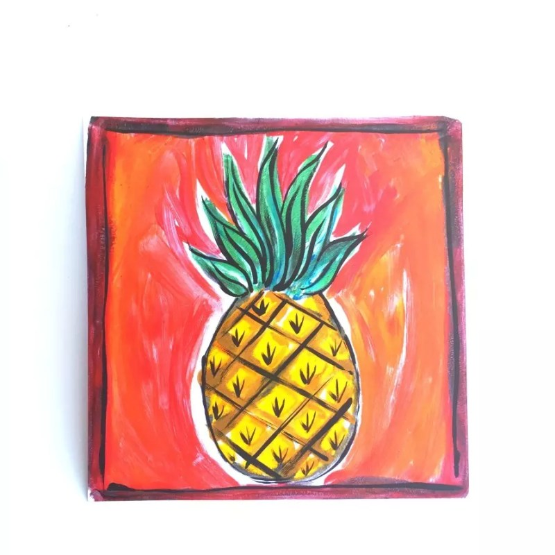 Pineapple monoprint made with a Gelli Plate. CraftyChica.com.