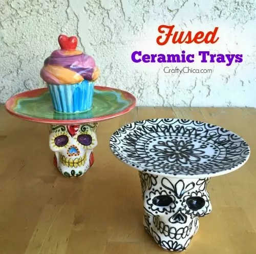 Fuse a plate and skull together to make a cool jewelry or dessert tray!