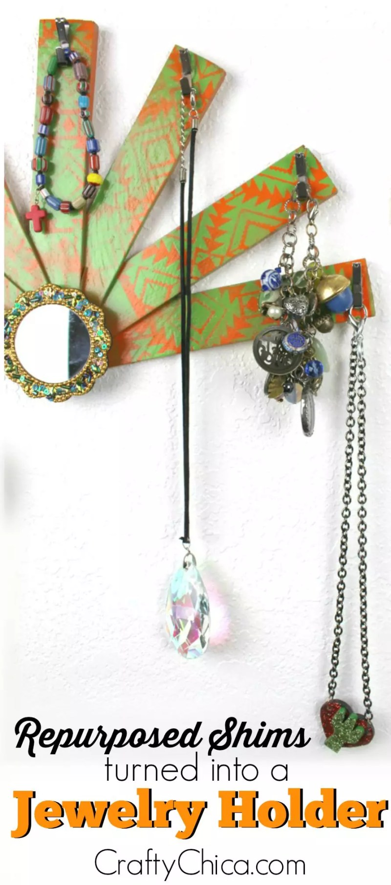 Use shims from the hardware store to make a jewelry holder! By CraftyChica.com