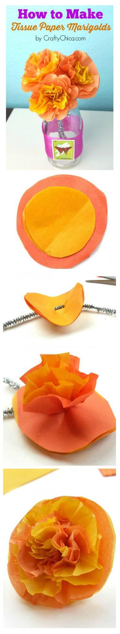 Marigold paper flower tutorial.