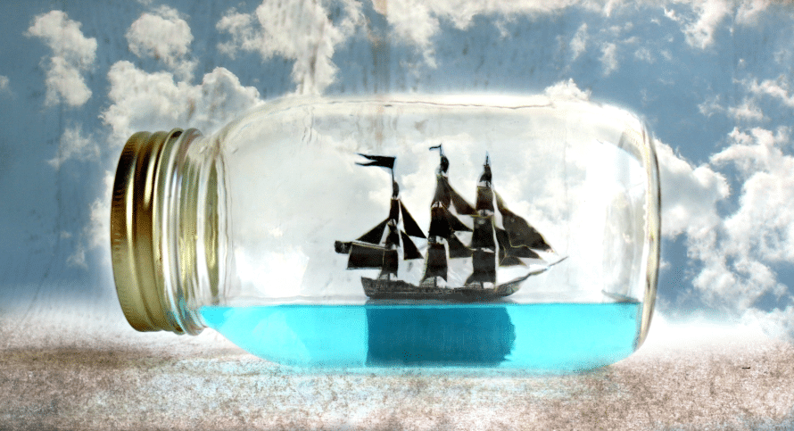 Ship in a bottle craft, by Crafty Chica.