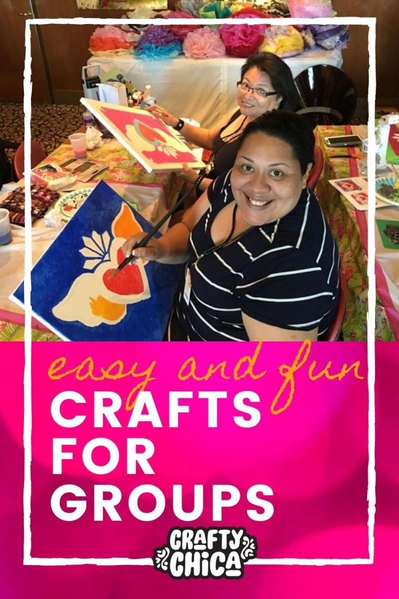 Here are some easy and fun ideas for group crafts! #craftychica #groupcrafts #partycrafts