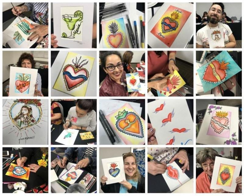 art class-heart art- art- #craftychica hearts a fire