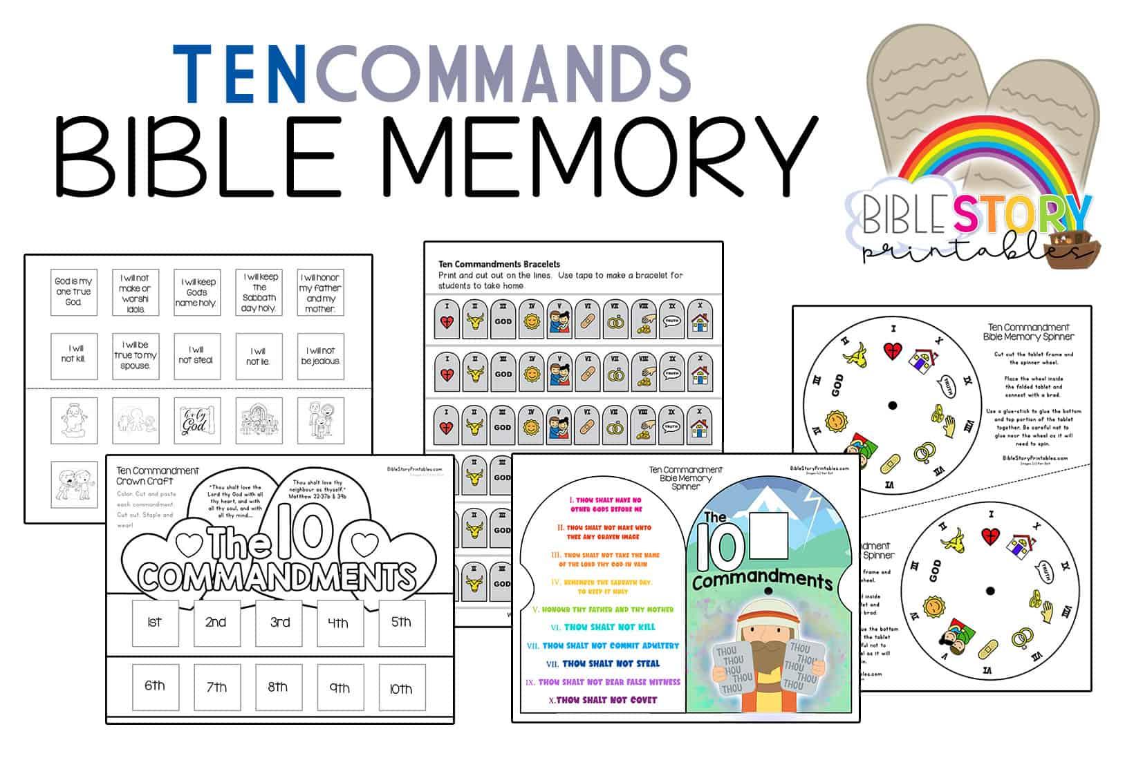 Ten Commandments For Kids Bible Activity Pack