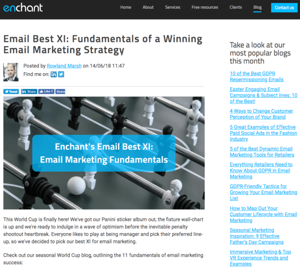 Enchant Agency blog page featuring a blog post on the fundamentals of email marketing