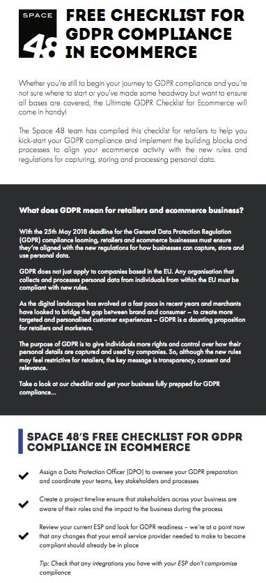 GDPR checklist for ecoomerce