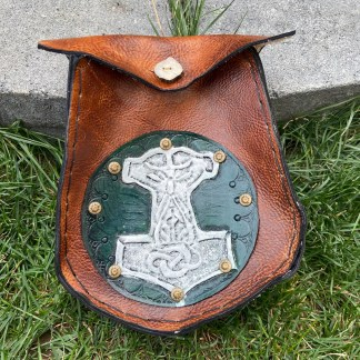 Thor's hammer leather tooled sporran