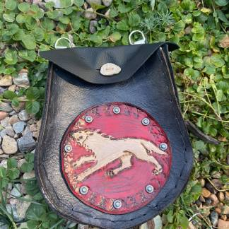 Leather tooled wolf sporran