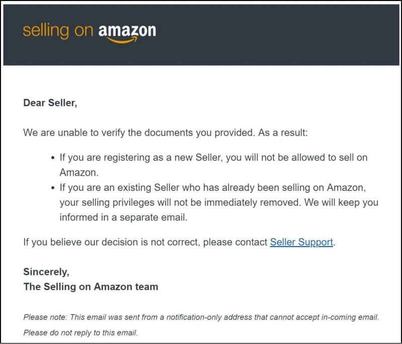 A reason to hate Amazon FBA. Seller Support response to being unable to verify documents.