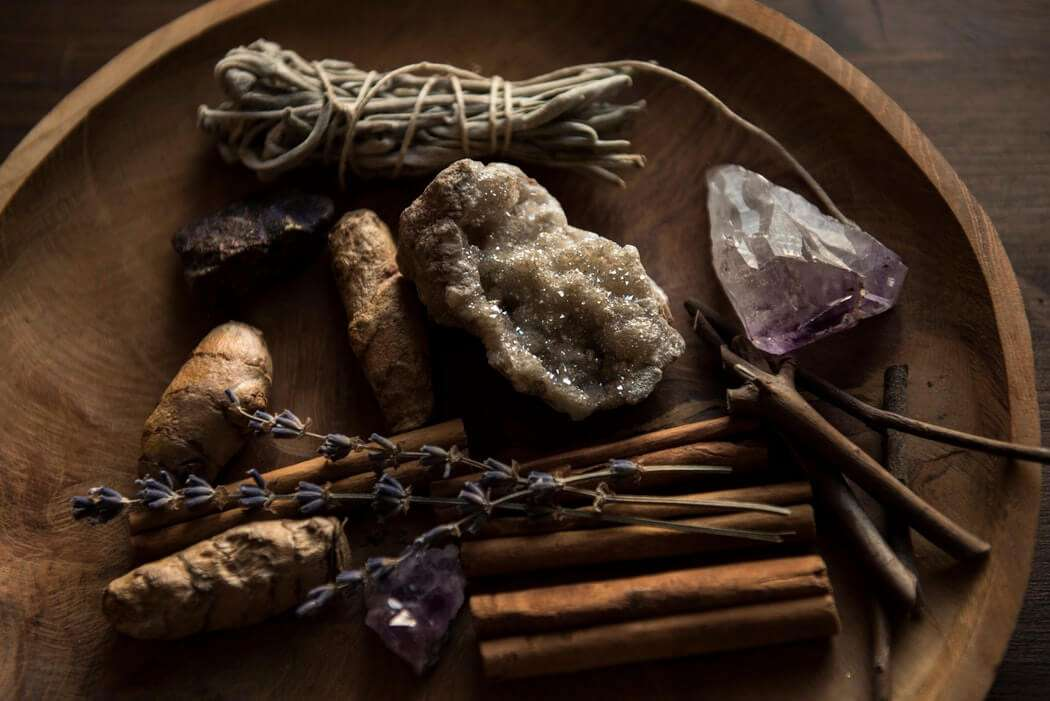 crystals and sage