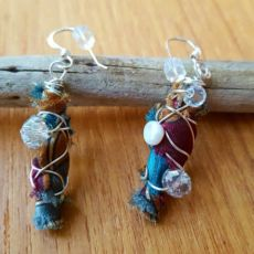 Wire wrapped boho dangle earrings