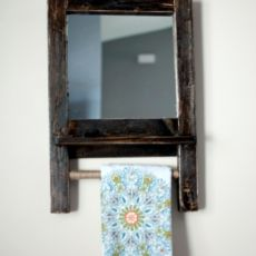 Hanging Mirror with shelf and rod