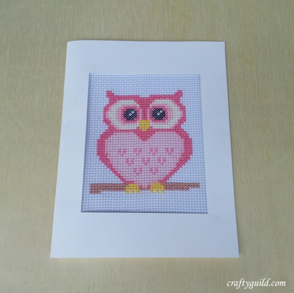 free pink owl cross stitch pattern-craftyguild.com
