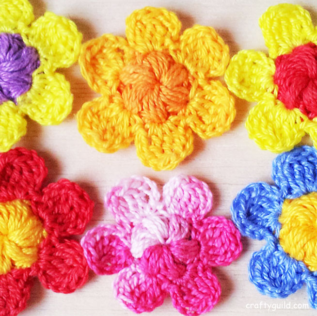 crocheted little blossom flower