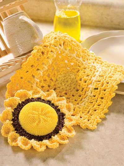 crochet sunflower dishcloth and scrubbie