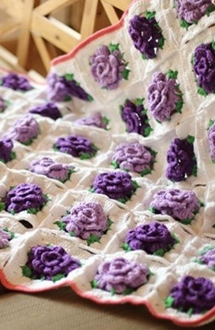 Purple-Rose-Crochet-blanket
