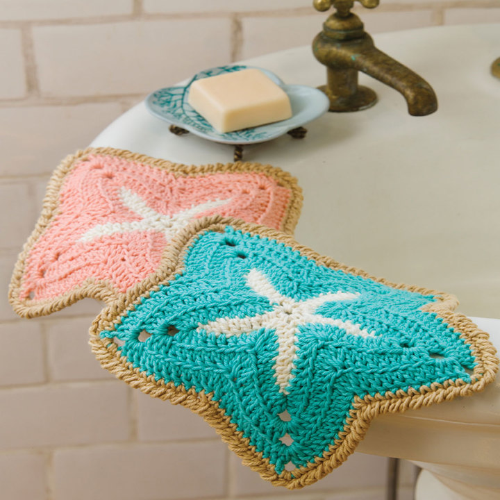 free crochet starfish dishcloths pattern