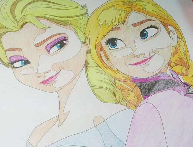 Anna and Elsa – Free Coloring Page from Crafty Guild