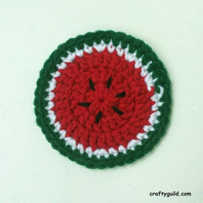 How to Crochet a Watermelon Coaster