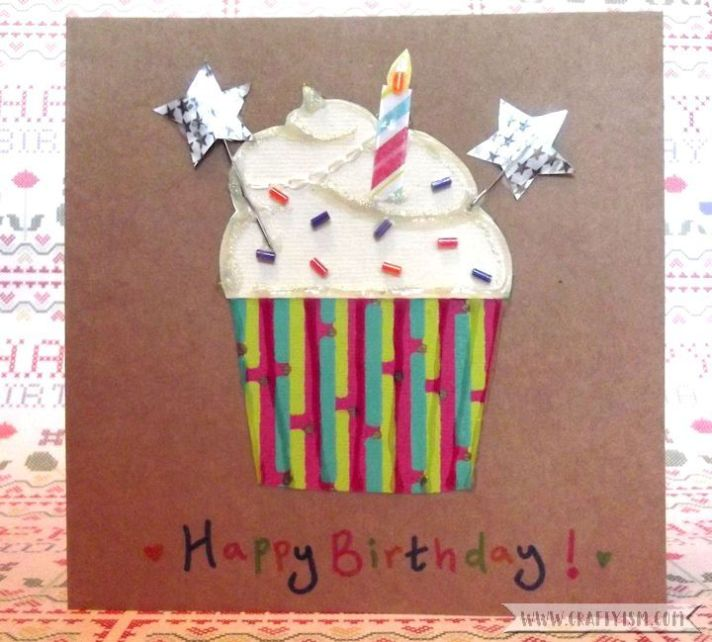 How-to Cupcake Birthday Card finished