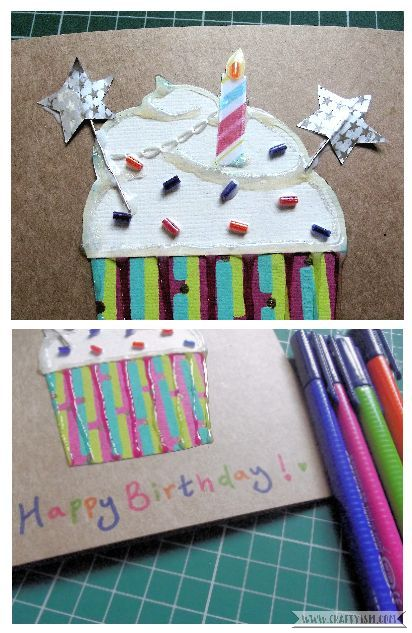 How-to Cupcake Birthday Card Step 8
