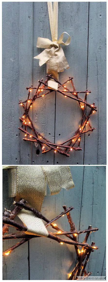 How to - Fairy Light Twig Star Wreath final
