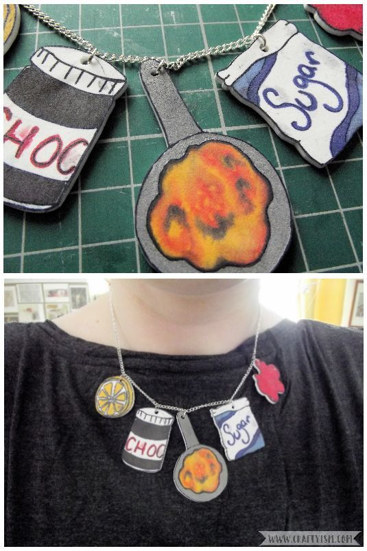 How to - Pancake Day craft necklace finished