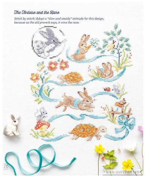 Review - Fables & Fairy Tales to Cross Stitch by Veronique Enginger | The Tortoise and the Hare