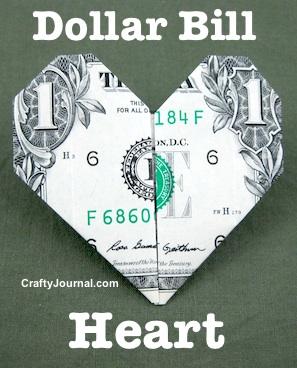Folded Dollar Bill Heart by Crafty Journal