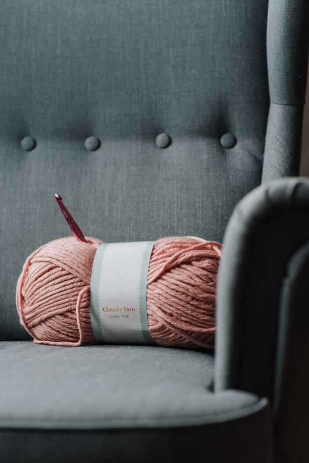armchair with pink yarn for crochet Beginner crochet lessons