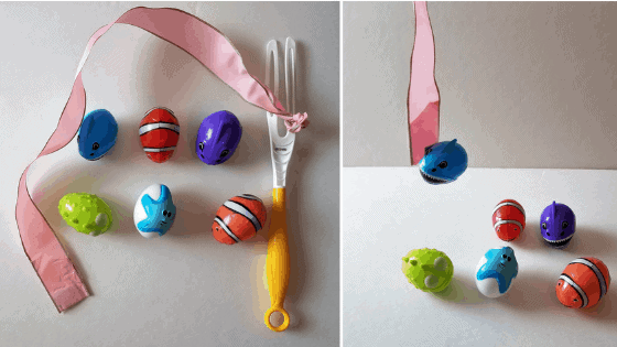 Fun and easy indoor fishing activity for kids! Use those plastic Easter eggs again!