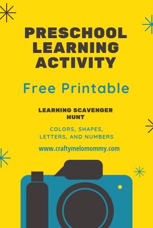 FREE PRINTABLE learning activity for your kids! Lots of indoor fun with this photo scavenger hunt. Help your child learn the alphabet, numbers, colors, and shapes.