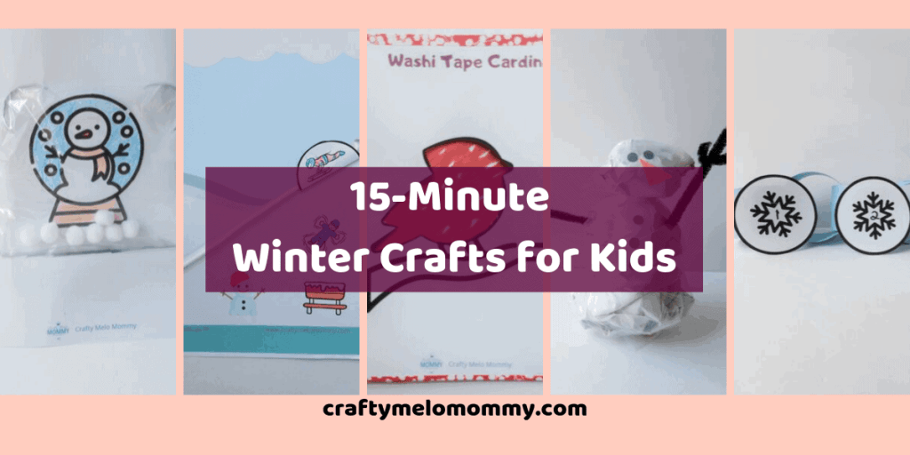 Let me help you entertain your kids on those cold winter snow days. I have created 15-minute winter crafts you and your kids can do together at home. You can stay inside and create a winter construction paper craft, a simple snow globe, a cute snowman craft, a beautiful winter bird, and a super fun simple sledding craft. These are perfect for younger kids toddler aged and up. I hope you have lots of winter fun with these.