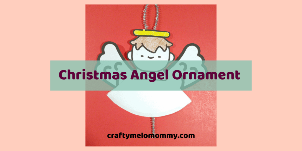 Looking for a fun Christmas craft to entertain your kids this holiday season? This is a super cute angel with wings that move. Making this craft is a perfect idea for a homemade Christmas gift for the grandparents. Using a pipe cleaner, a FREE PRINTABLE template, and a few other supplies your kids can make an angel ornament. Easy enough for a toddler, preschooler, or kindergartener to make with a little supervision. #DIYChristmasOrnaments #HolidayCraftsChristmasKids #PreschoolChristmasCrafts