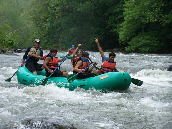 Group rafting on the river with Loafer's Glory Rafting