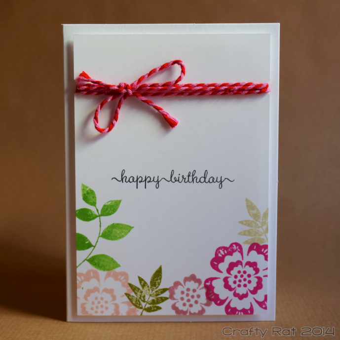 Birthday card: Flowers and twine