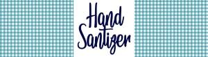 blue gingham hand sanitizer label