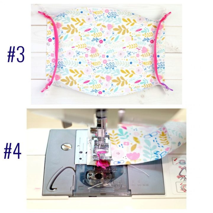 double photo #3 and #4 floral fabric, pinned loops and on sewing machine for easy to sew pleated face mask with headband loop ties on a white table