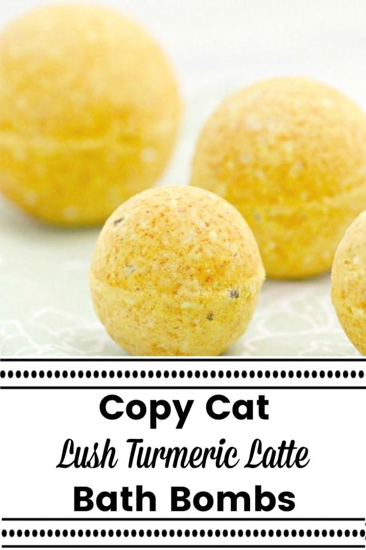 4 turmeric bath bombs on a white table for Copy Cat Lush Turmeric Latte Bath Bombs