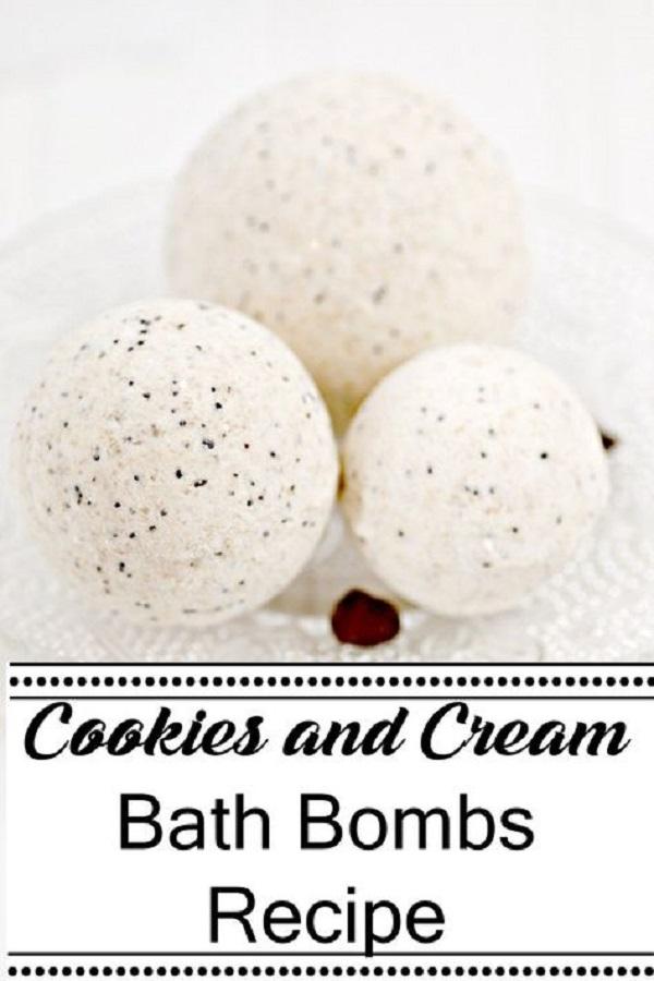 3 Cookies and Cream Bath Bombs on white napkin