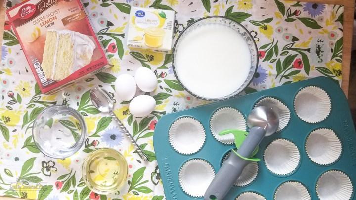 Double Lemon Jello Pudding Poke Cupcakes Recipe on a floral napkin