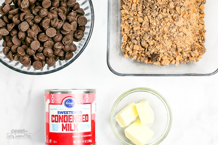 Easy Heath Bar Fudge Recipe Ingredients in glass bowls on a white table