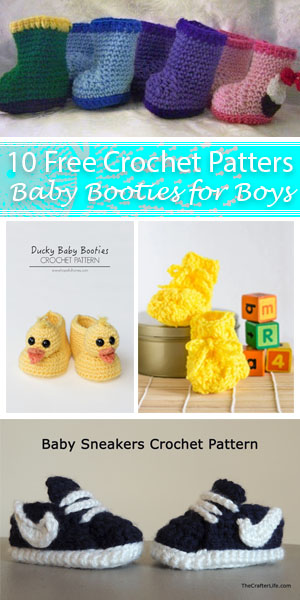 10 Free Crochet Baby Booties for Boys