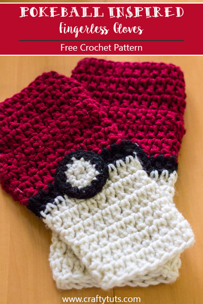 Pokeball Inspired Fingerless Gloves Free Crochet Pattern Crafty
