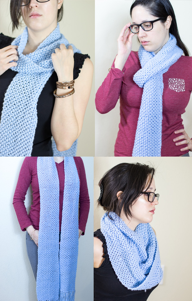 FREE Knitting Scarf Pattern, get this easy but classy scarf pattern and make your own knitted scarf using the basic knit and purl stitches.