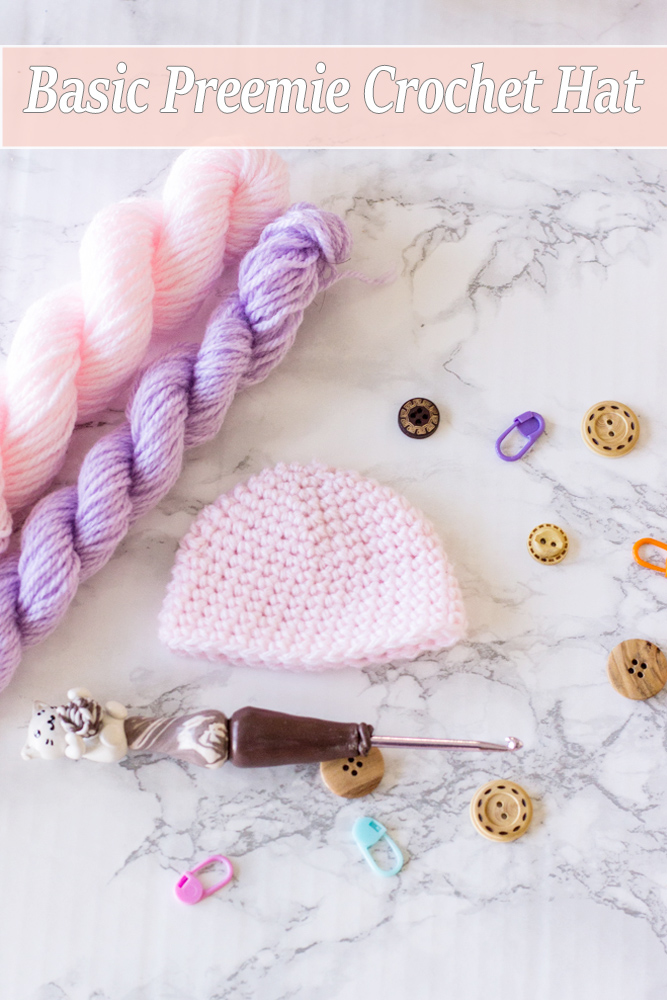 Preemie Crochet Hat Free Pattern. Basic Preemie baby hat Free crochet pattern and video tutorial. Free crochet pattern for preemie babies.