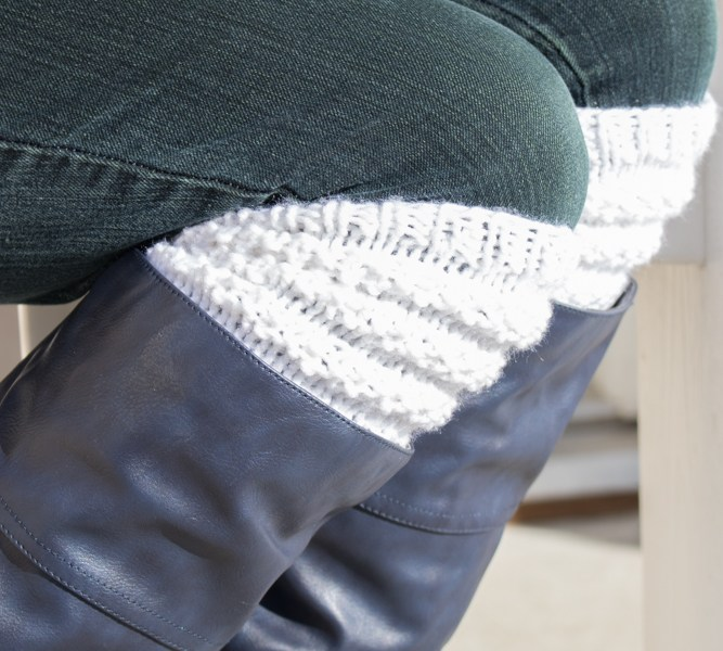 Textured Knitted Boot Cuffs Free Knitting Pattern